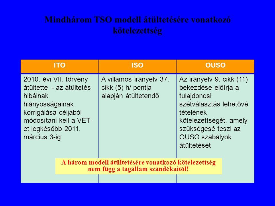 Mindhárom TSO modell átültetésére vonatkozó kötelezettség