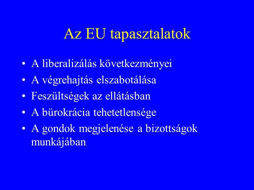 Az EU tapasztalatok A liberalizálás következményei
