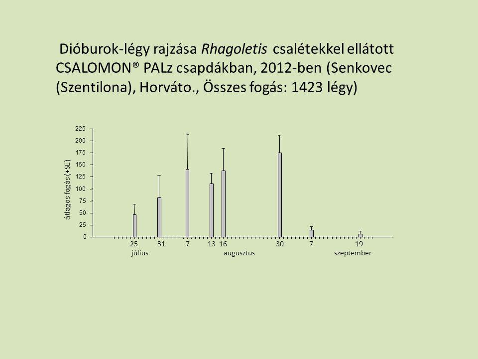 Dióburok-légy rajzása Rhagoletis csalétekkel ellátott CSALOMON® PALz csapdákban, 2012-ben (Senkovec (Szentilona), Horváto., Összes fogás: 1423 légy)