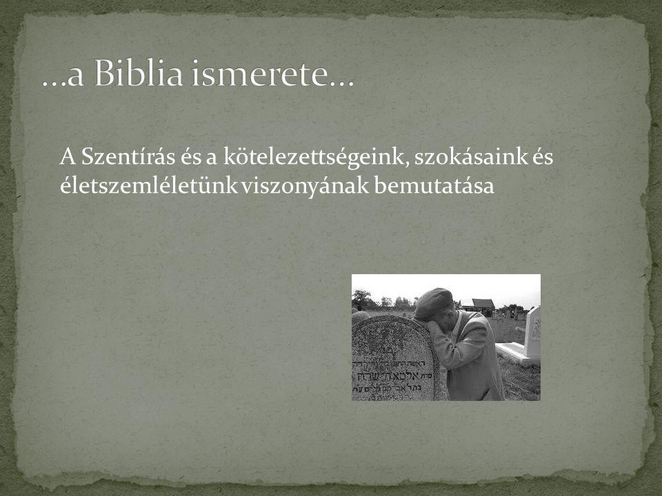 …a Biblia ismerete… A Szentírás és a kötelezettségeink, szokásaink és életszemléletünk viszonyának bemutatása.