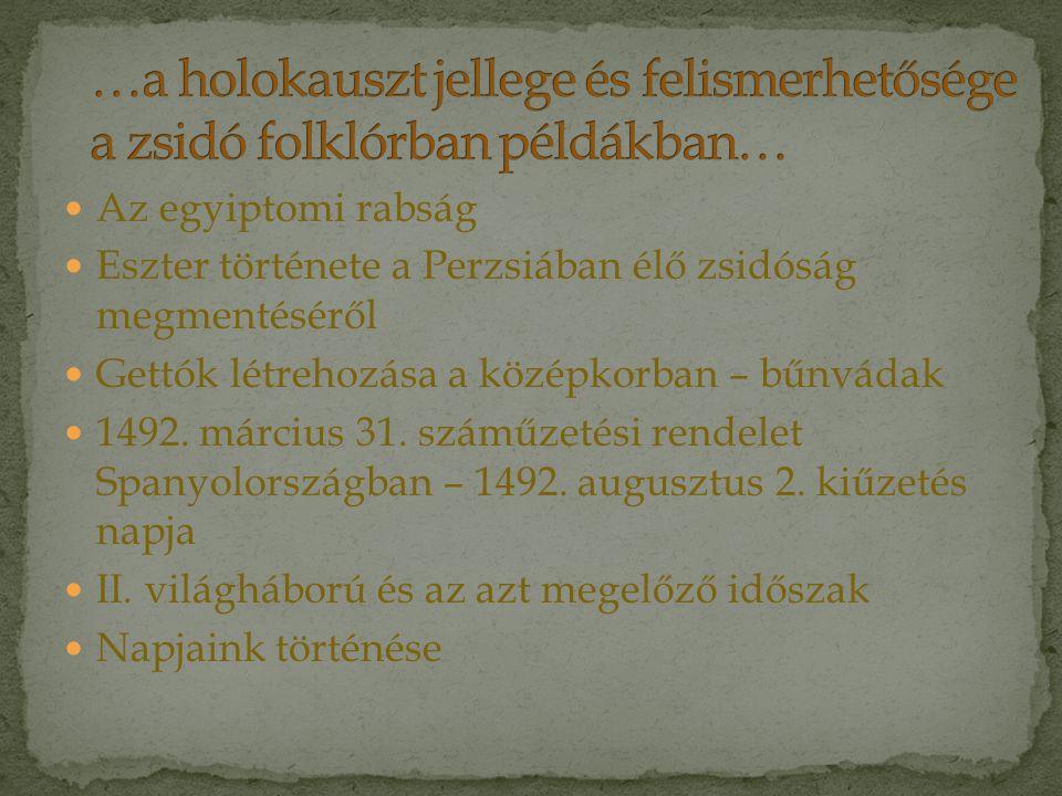 …a holokauszt jellege és felismerhetősége a zsidó folklórban példákban…