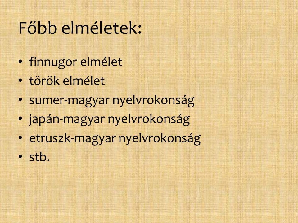 Főbb elméletek: finnugor elmélet török elmélet