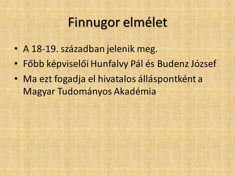Finnugor elmélet A 18-19. században jelenik meg.