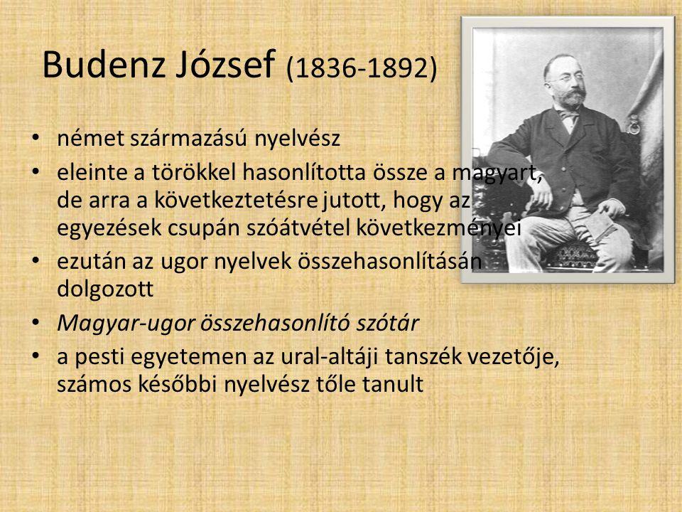 Budenz József (1836-1892) német származású nyelvész