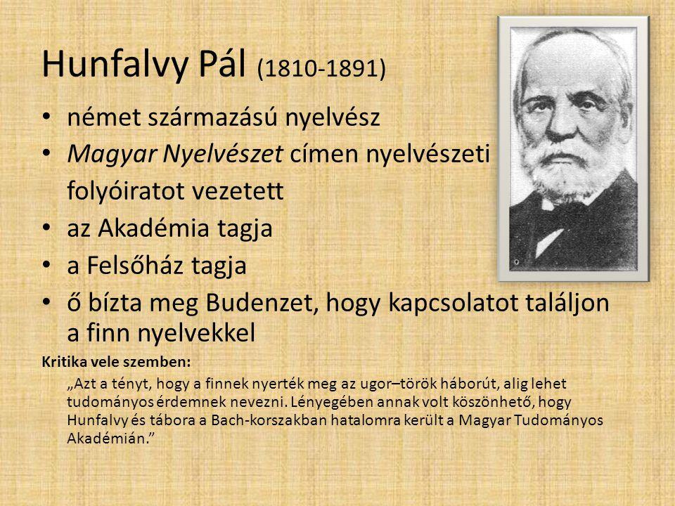 Hunfalvy Pál (1810-1891) német származású nyelvész