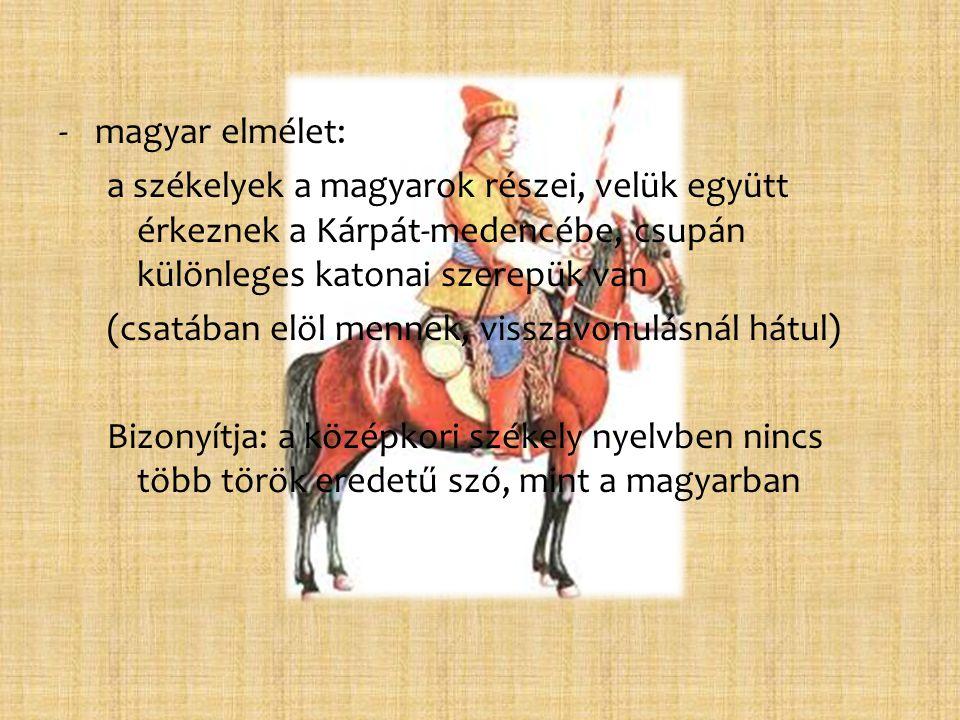 magyar elmélet: a székelyek a magyarok részei, velük együtt érkeznek a Kárpát-medencébe, csupán különleges katonai szerepük van.