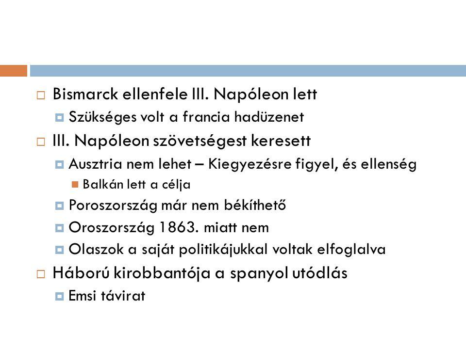 Bismarck ellenfele III. Napóleon lett