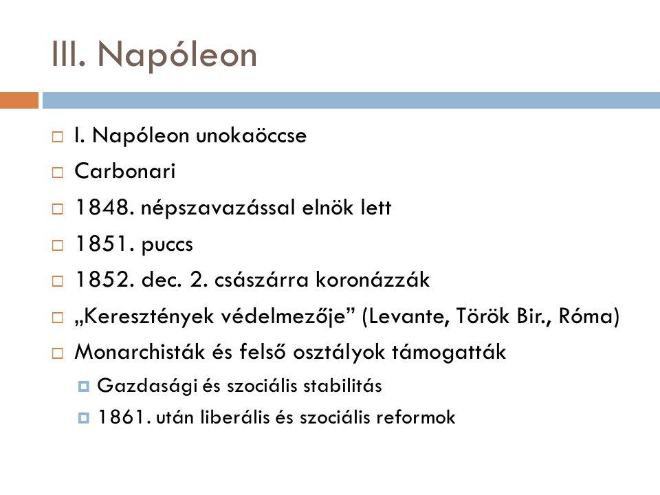 III. Napóleon I. Napóleon unokaöccse Carbonari