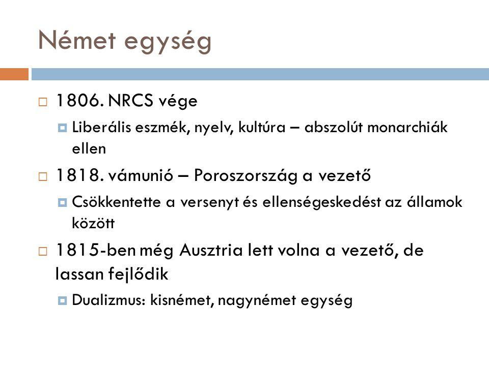 Német egység 1806. NRCS vége 1818. vámunió – Poroszország a vezető