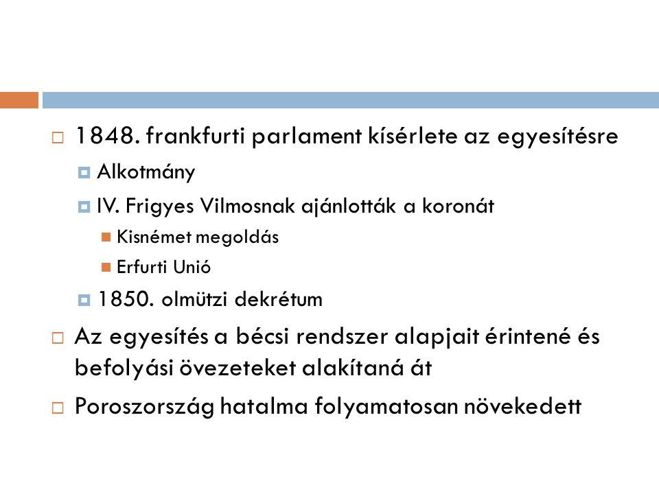 1848. frankfurti parlament kísérlete az egyesítésre