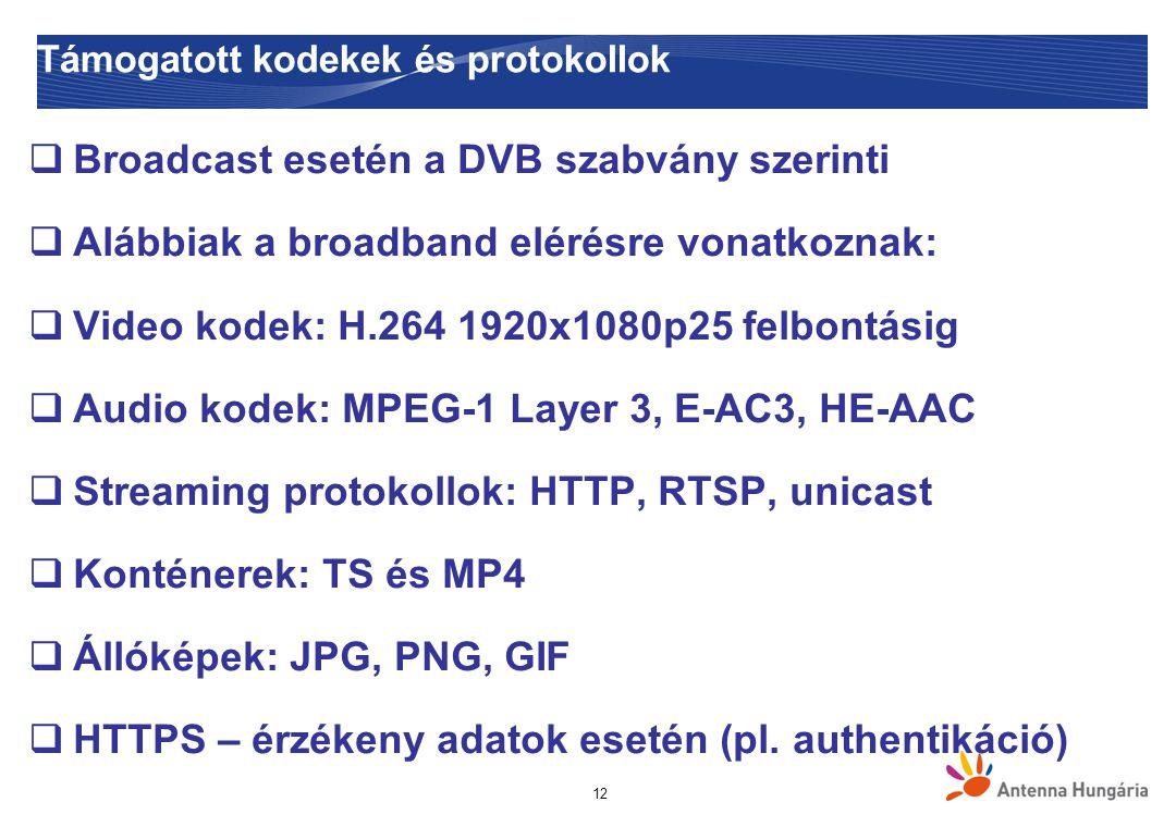 Támogatott kodekek és protokollok