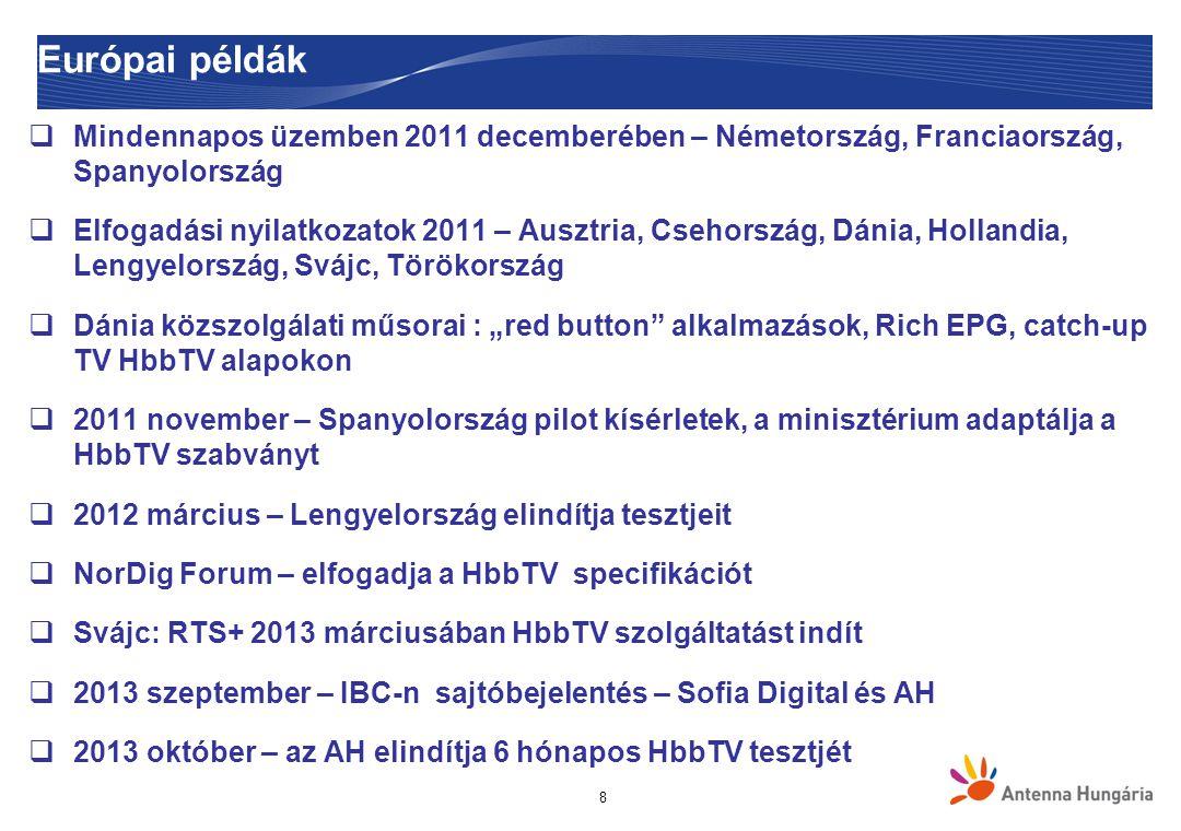 Európai példák Mindennapos üzemben 2011 decemberében – Németország, Franciaország, Spanyolország.