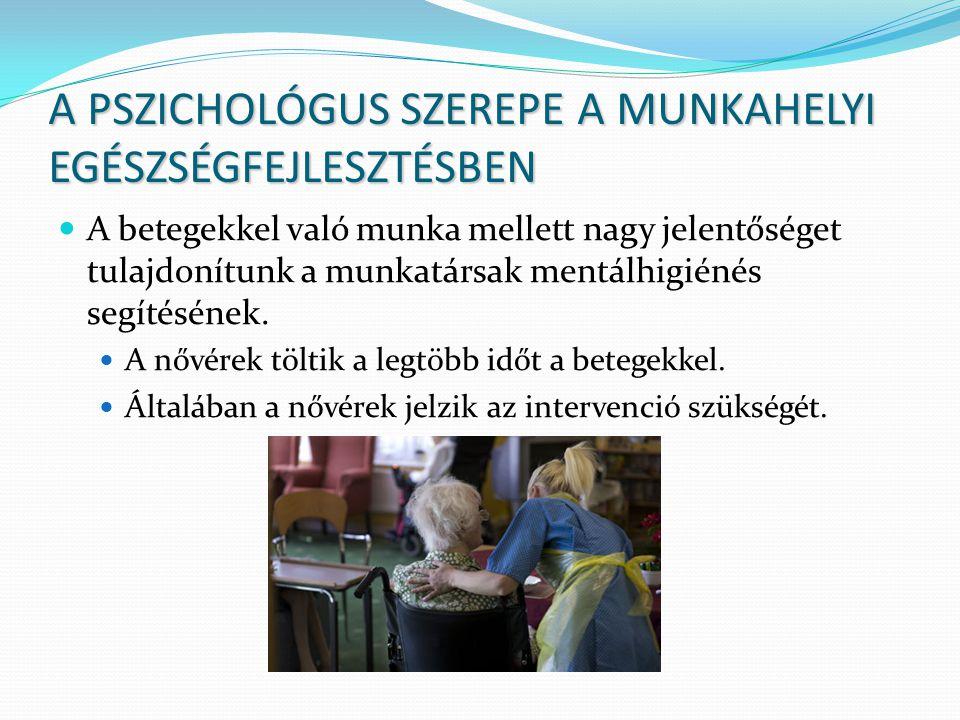 A PSZICHOLÓGUS SZEREPE A MUNKAHELYI EGÉSZSÉGFEJLESZTÉSBEN