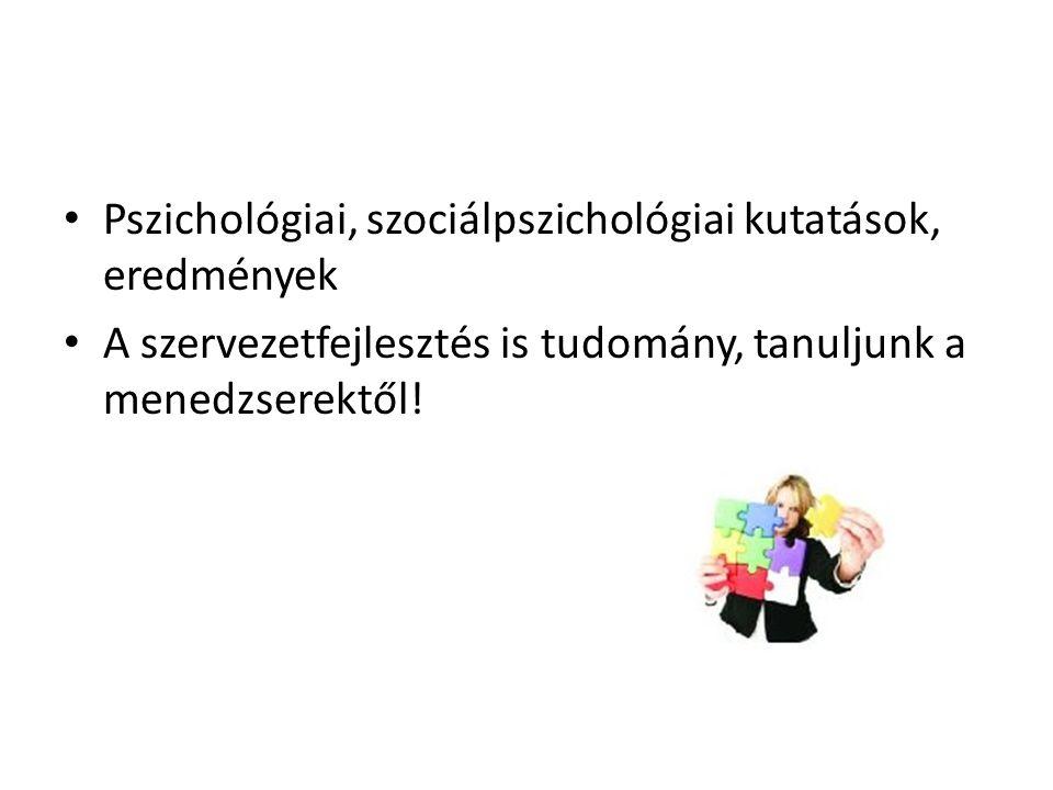 Pszichológiai, szociálpszichológiai kutatások, eredmények