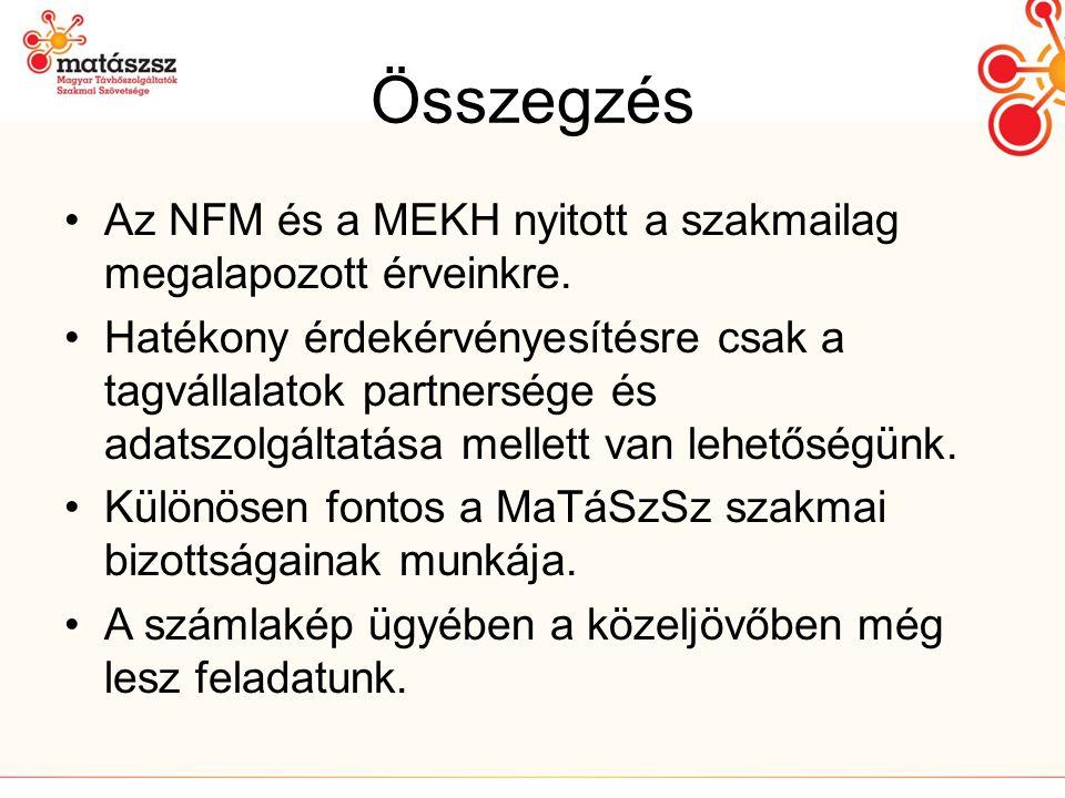 Összegzés Az NFM és a MEKH nyitott a szakmailag megalapozott érveinkre.