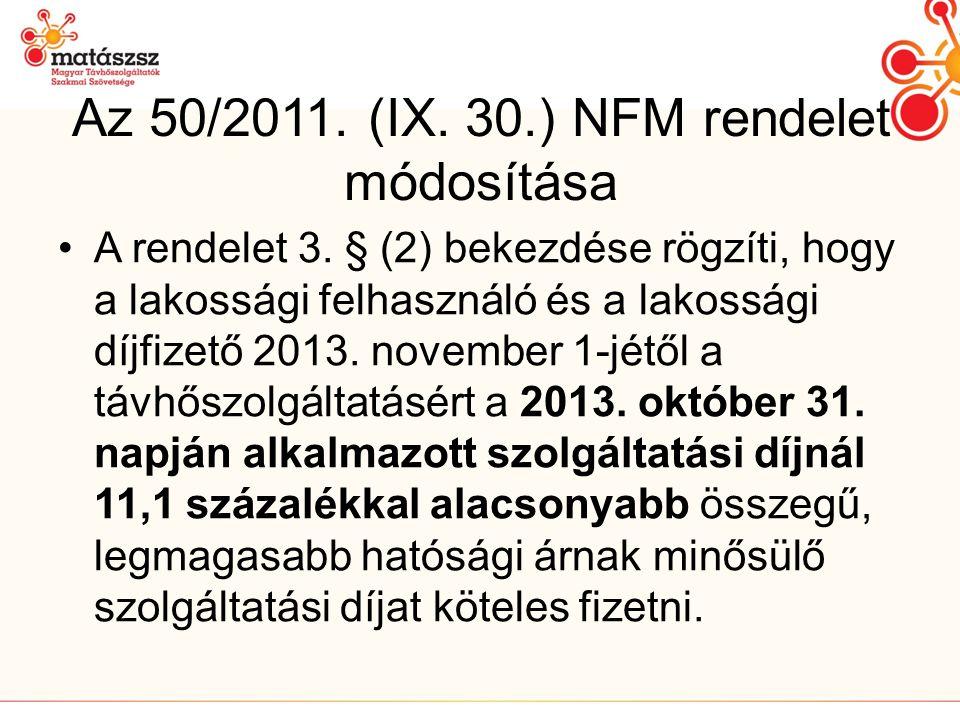 Az 50/2011. (IX. 30.) NFM rendelet módosítása