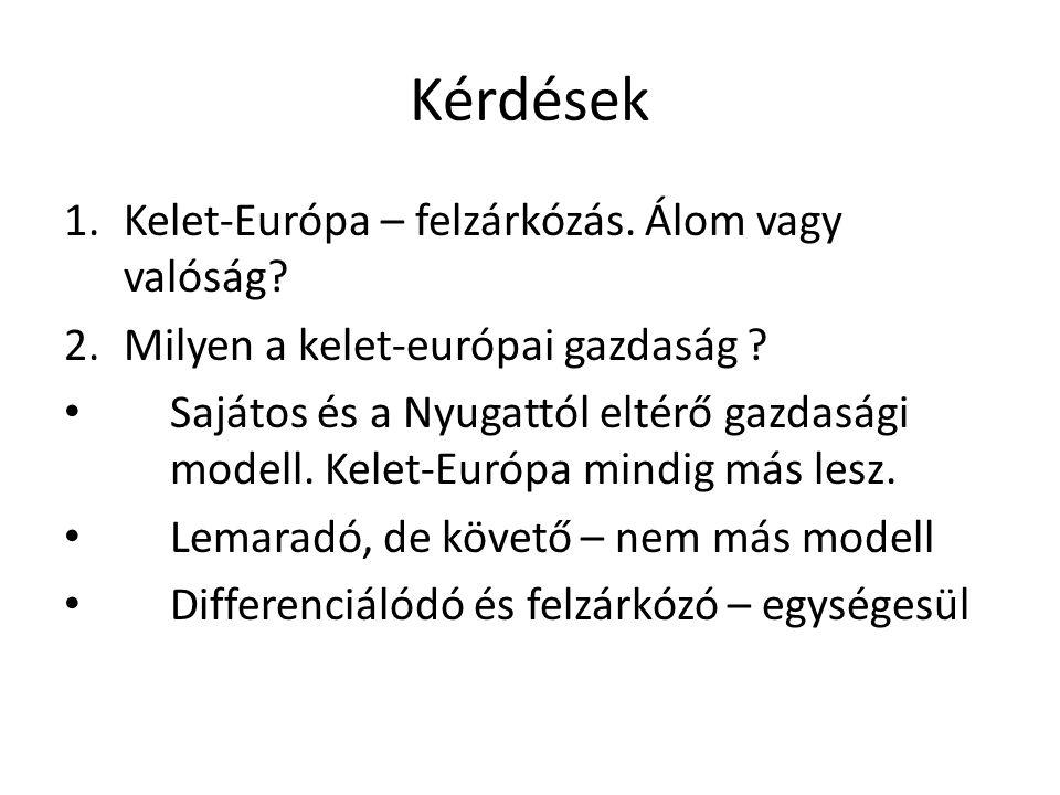 Kérdések Kelet-Európa – felzárkózás. Álom vagy valóság