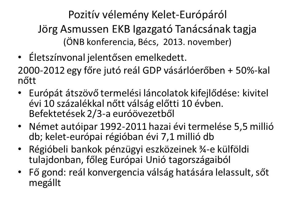 Pozitív vélemény Kelet-Európáról Jörg Asmussen EKB Igazgató Tanácsának tagja (ÖNB konferencia, Bécs, 2013. november)