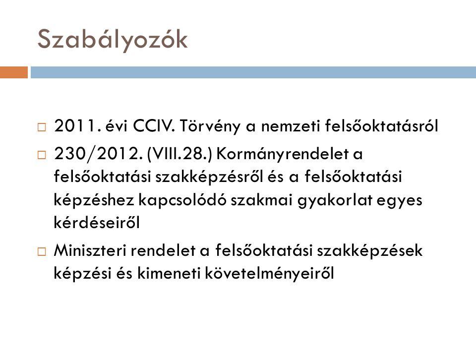 Szabályozók 2011. évi CCIV. Törvény a nemzeti felsőoktatásról