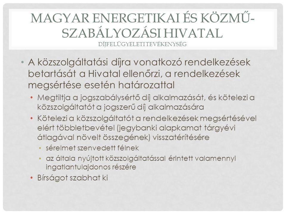 Magyar energetikai és közmű-szabályozási hivatal díjfelügyeleti tevékenység