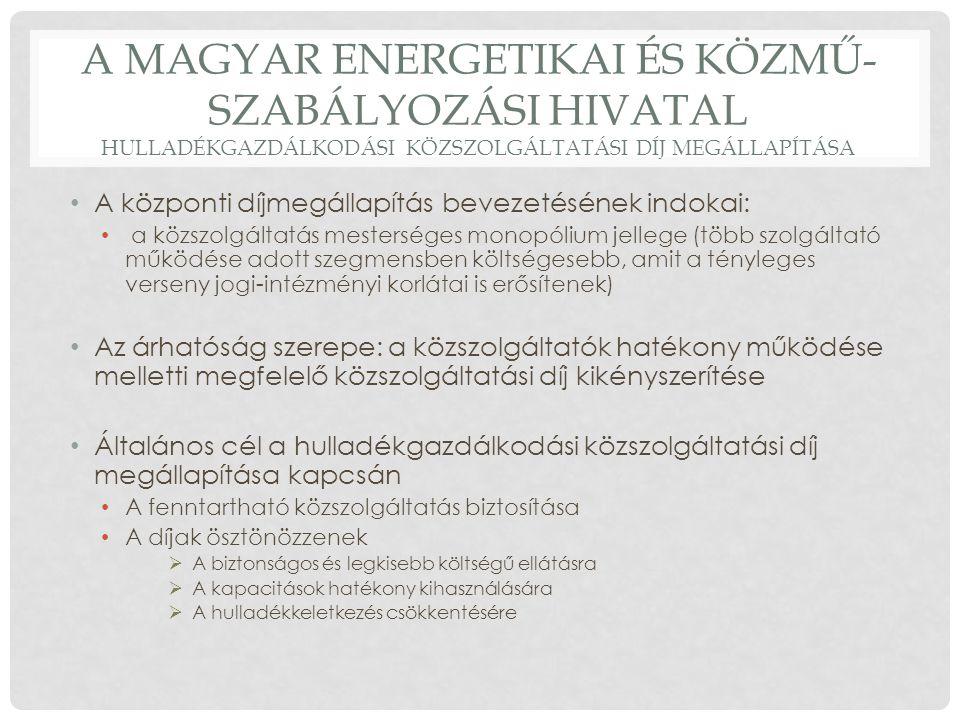 A Magyar Energetikai és Közmű-szabályozási Hivatal hulladékgazdálkodási közszolgáltatási díj megállapítása