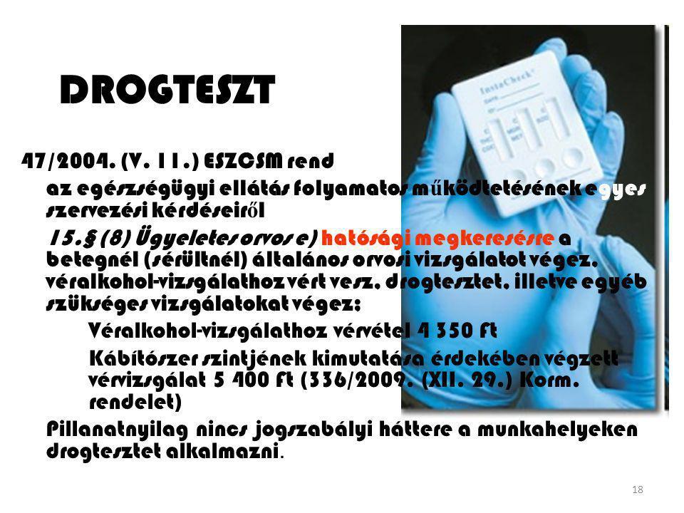 DROGTESZT 47/2004. (V. 11.) ESZCSM rendelet
