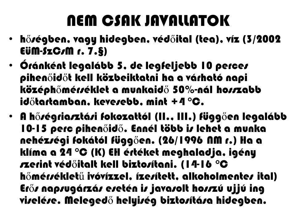 NEM CSAK JAVALLATOK hőségben, vagy hidegben, védőital (tea), víz (3/2002 EüM-SzCsM r. 7.§)