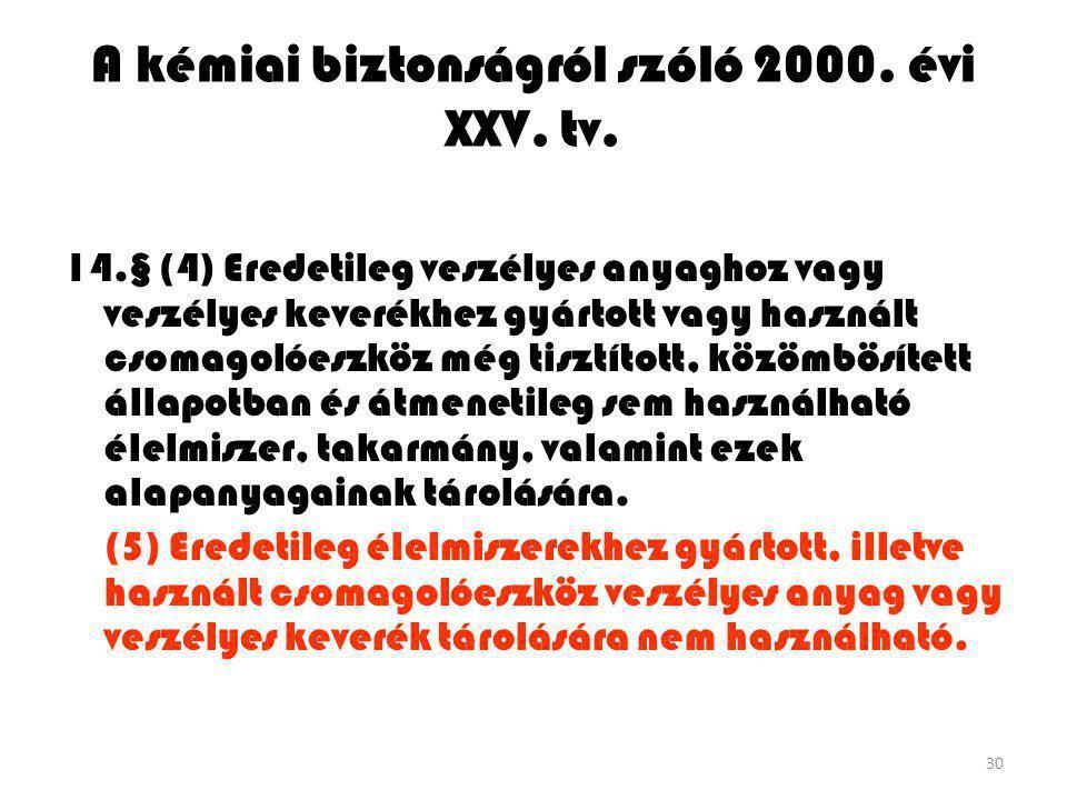 A kémiai biztonságról szóló 2000. évi XXV. tv.