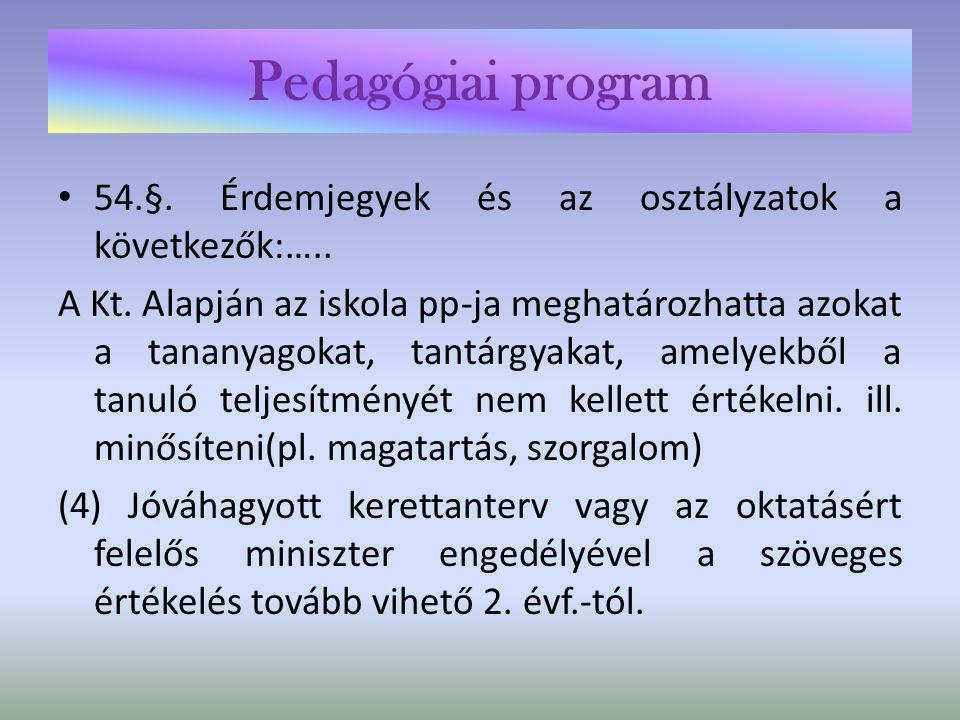 Pedagógiai program 54.§. Érdemjegyek és az osztályzatok a következők:…..
