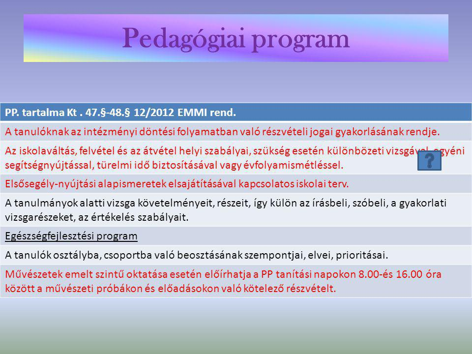 Pedagógiai program PP. tartalma Kt . 47.§-48.§ 12/2012 EMMI rend.
