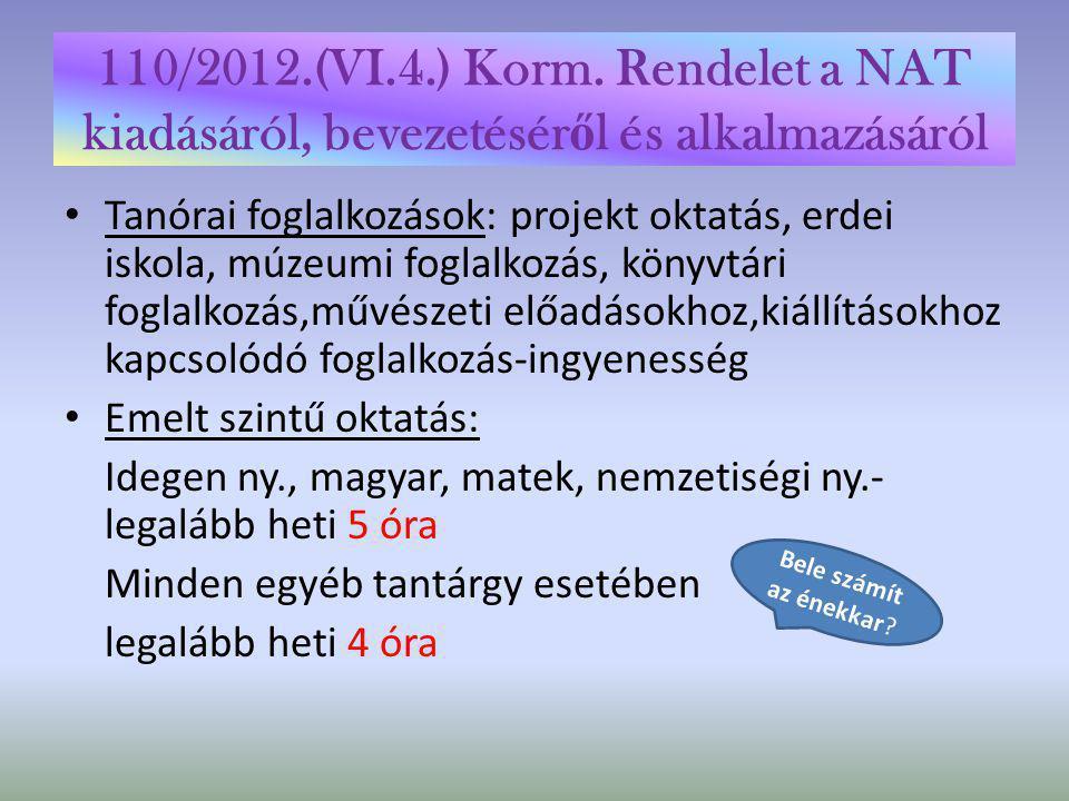 110/2012.(VI.4.) Korm. Rendelet a NAT kiadásáról, bevezetéséről és alkalmazásáról