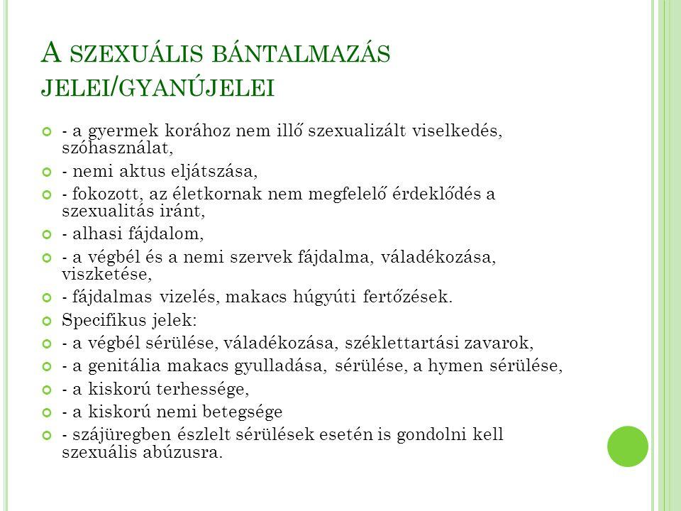 A szexuális bántalmazás jelei/gyanújelei