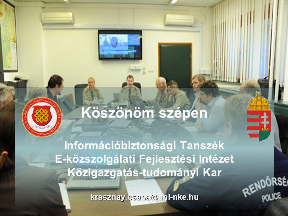 Köszönöm szépen Információbiztonsági Tanszék E-közszolgálati Fejlesztési Intézet Közigazgatás-tudományi Kar krasznay.csaba@uni-nke.hu