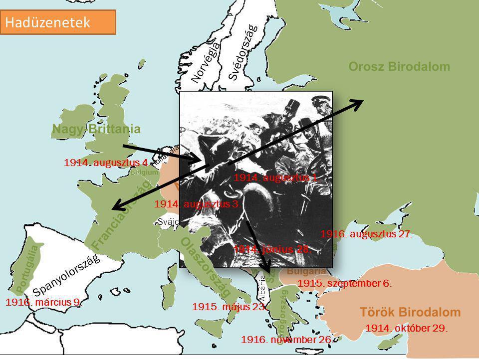 Hadüzenetek Svédország Norvégia Spanyolország 1914. augusztus 4.