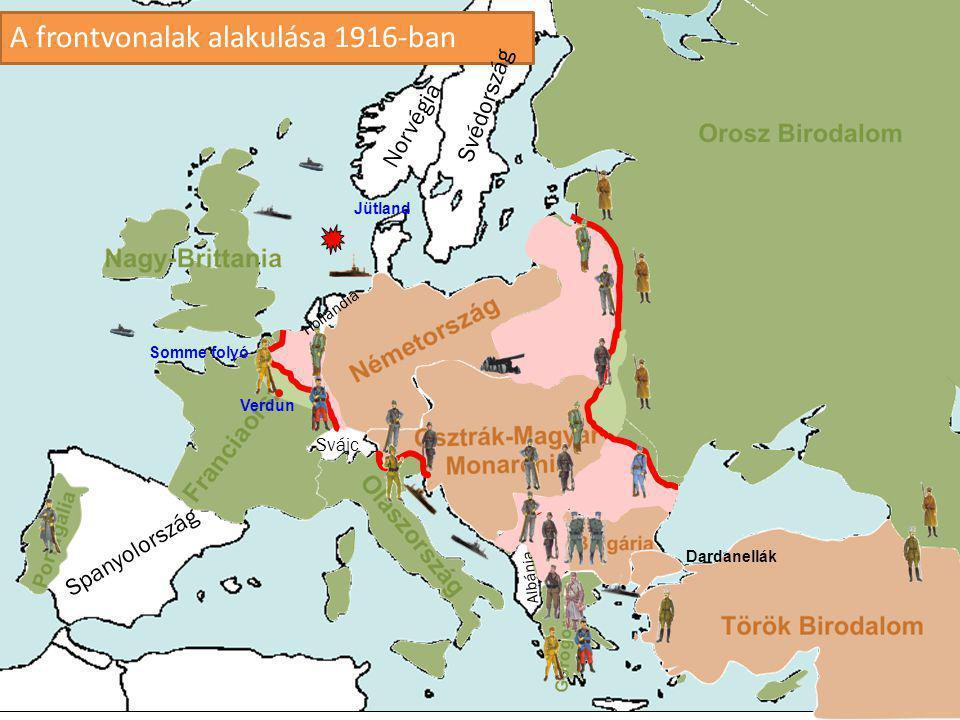 A frontvonalak alakulása 1916-ban
