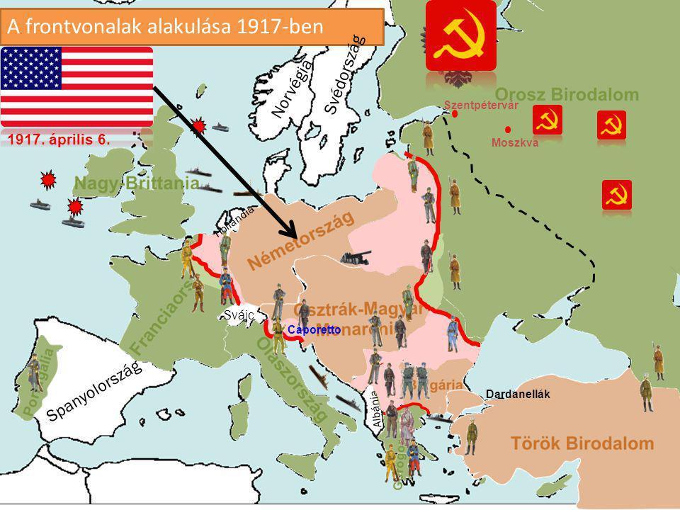 A frontvonalak alakulása 1917-ben