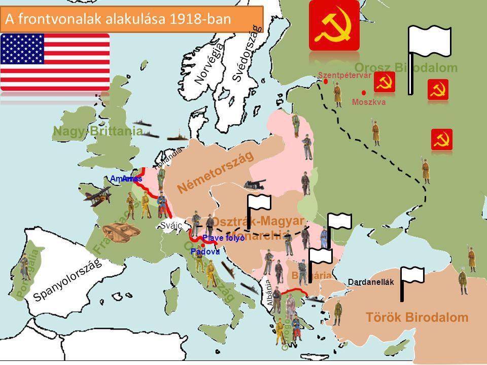 A frontvonalak alakulása 1918-ban