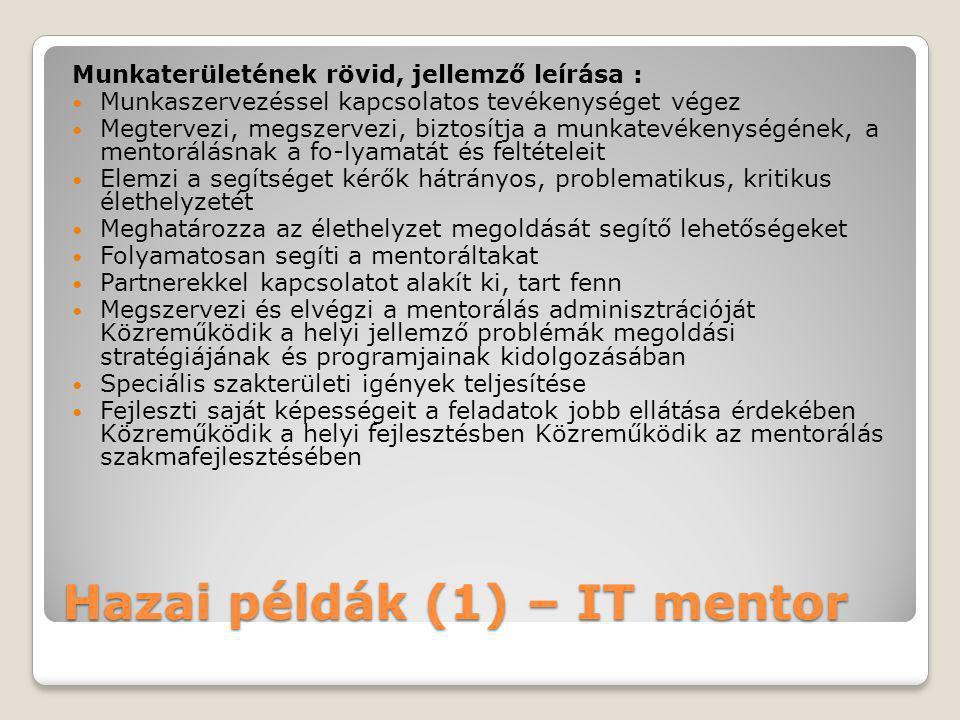 Hazai példák (1) – IT mentor