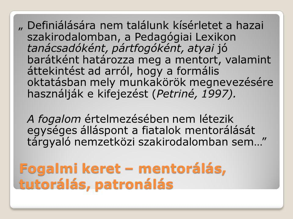 Fogalmi keret – mentorálás, tutorálás, patronálás