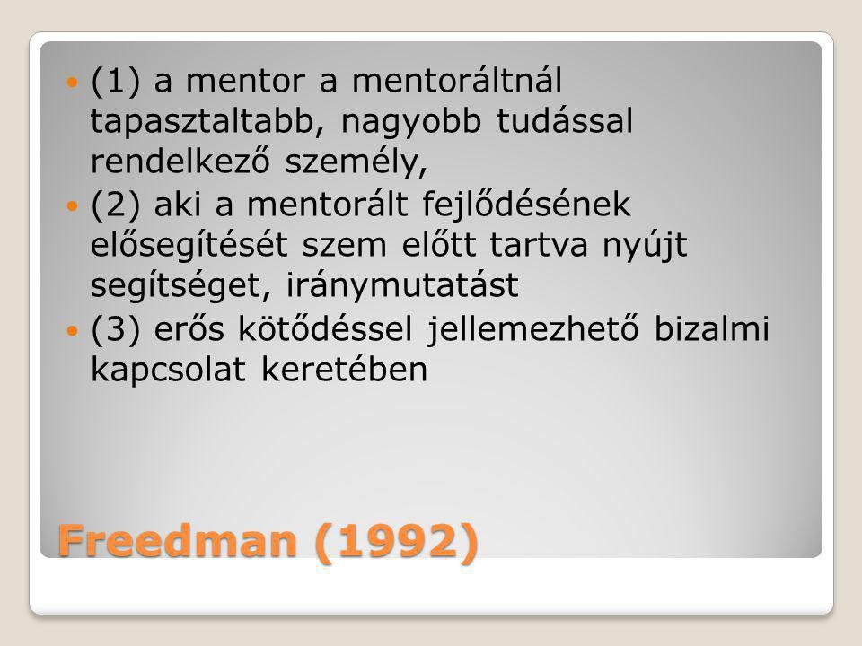 (1) a mentor a mentoráltnál tapasztaltabb, nagyobb tudással rendelkező személy,