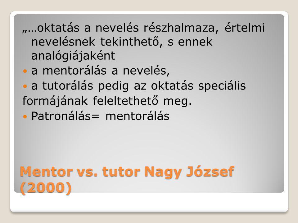 Mentor vs. tutor Nagy József (2000)