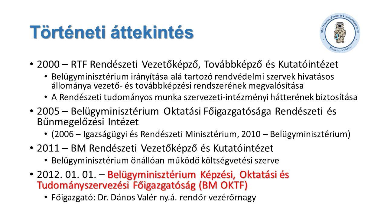 Történeti áttekintés 2000 – RTF Rendészeti Vezetőképző, Továbbképző és Kutatóintézet.