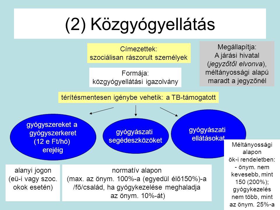 (2) Közgyógyellátás Megállapítja: A járási hivatal