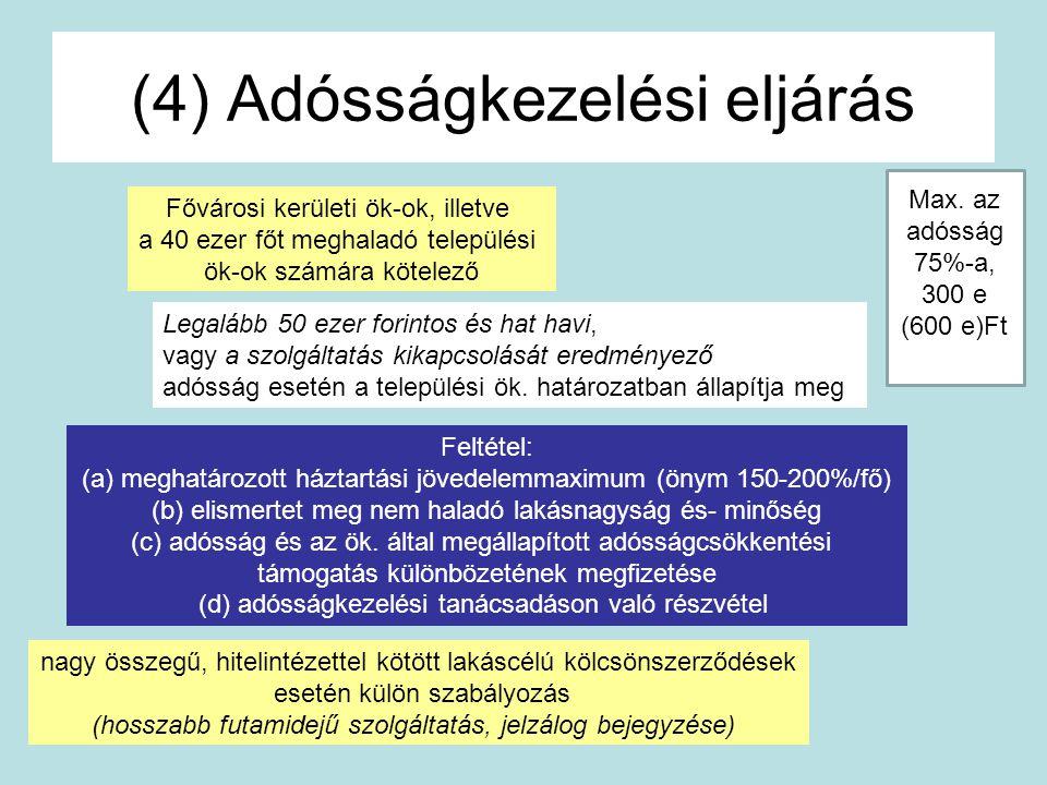 (4) Adósságkezelési eljárás