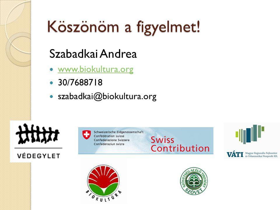 Köszönöm a figyelmet! Szabadkai Andrea www.biokultura.org 30/7688718