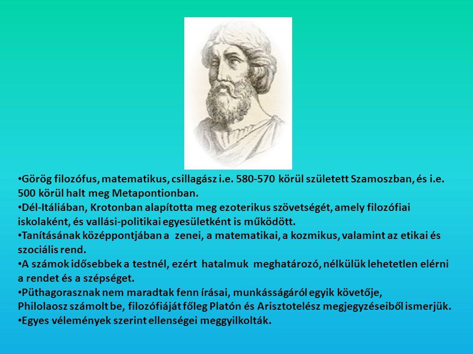 Görög filozófus, matematikus, csillagász i. e