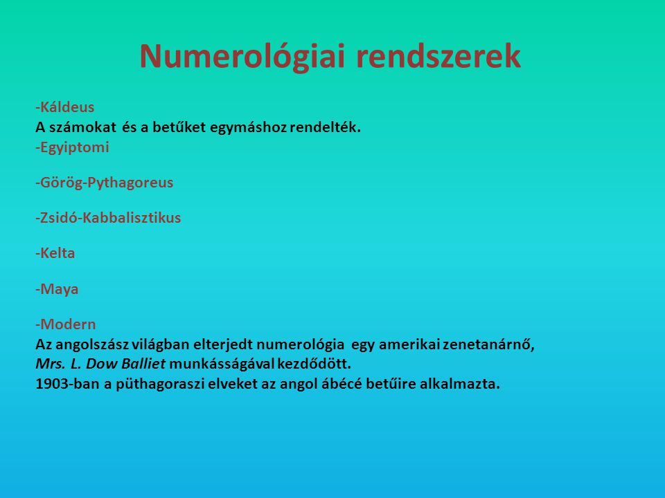 Numerológiai rendszerek