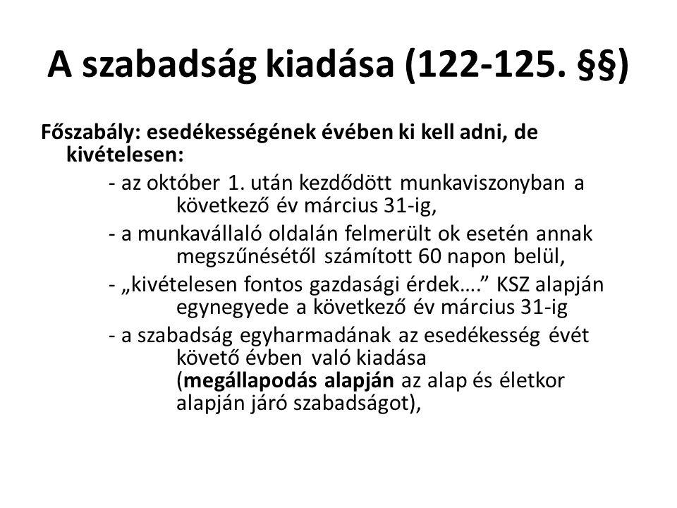A szabadság kiadása (122-125. §§)