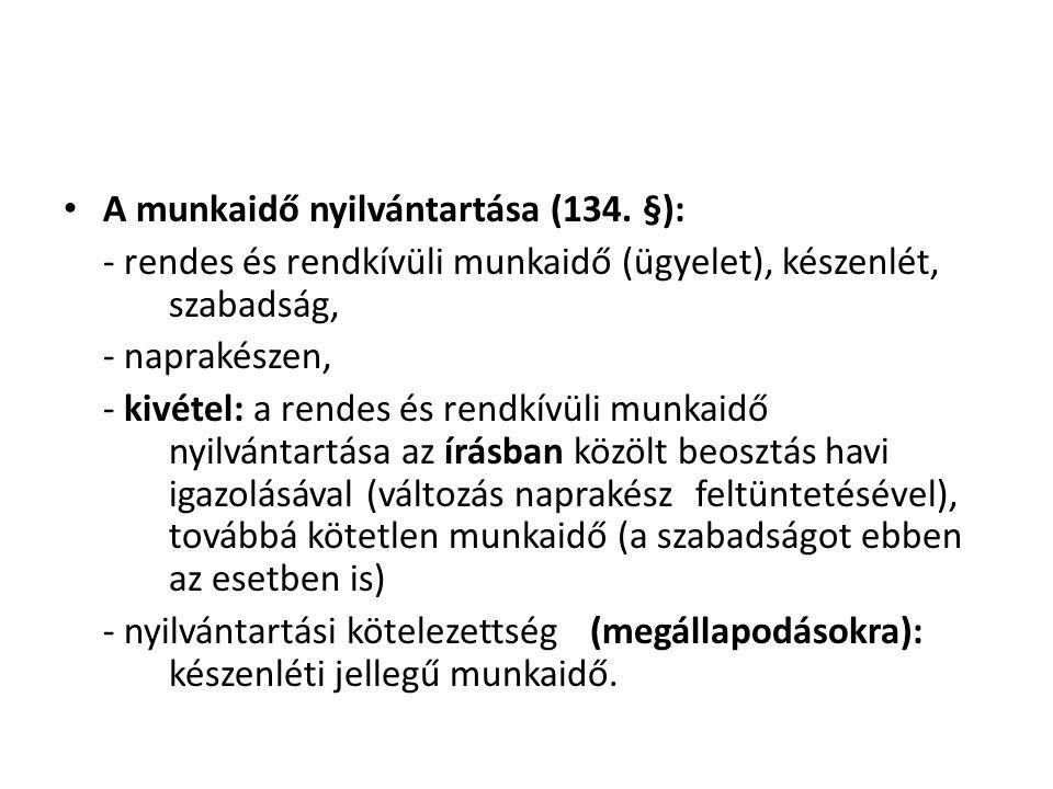 A munkaidő nyilvántartása (134. §):