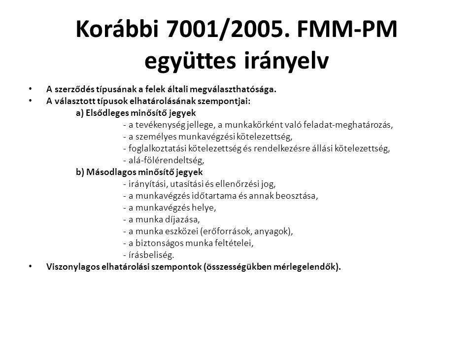 Korábbi 7001/2005. FMM-PM együttes irányelv